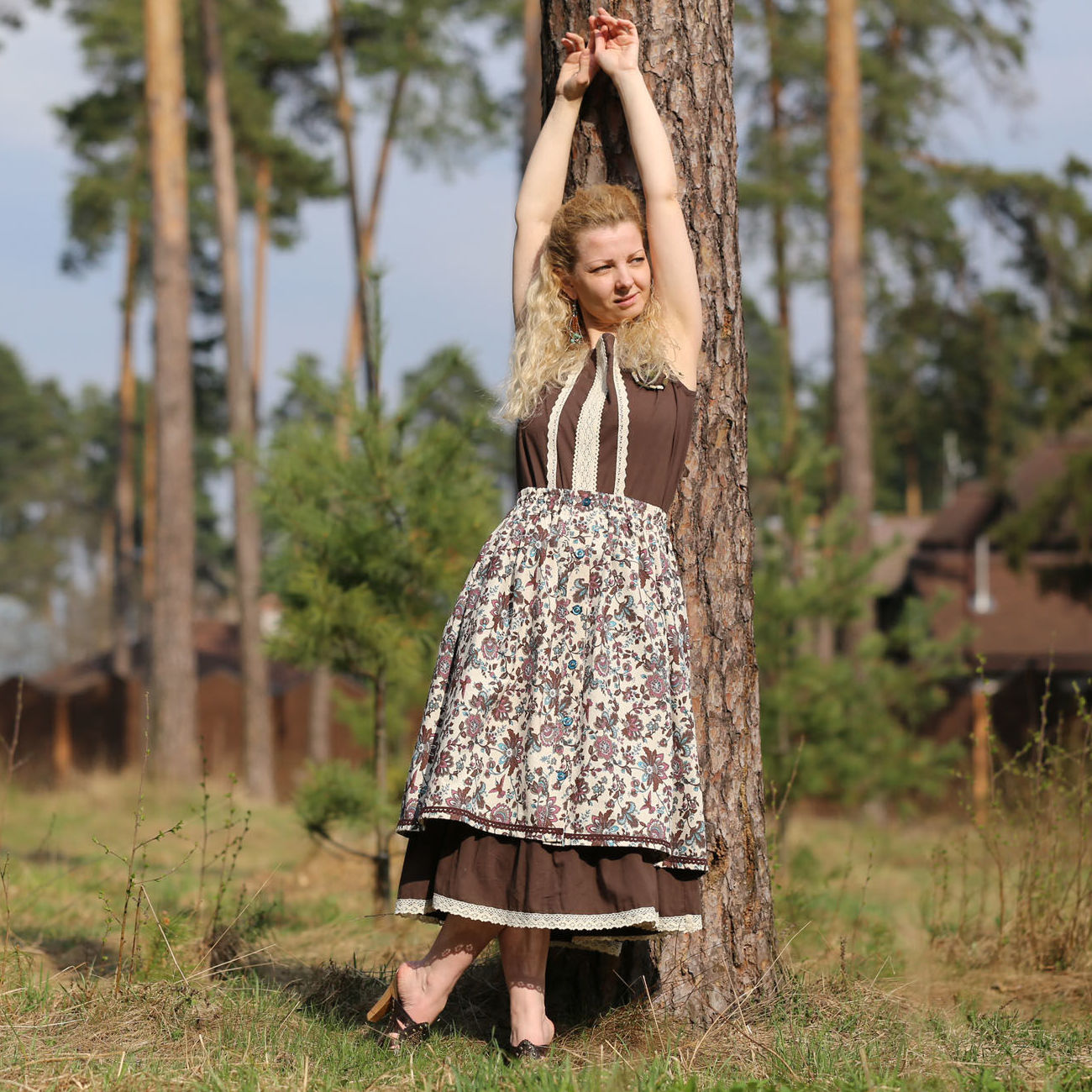 Nata Schu батистовое платье с льняной юбкой