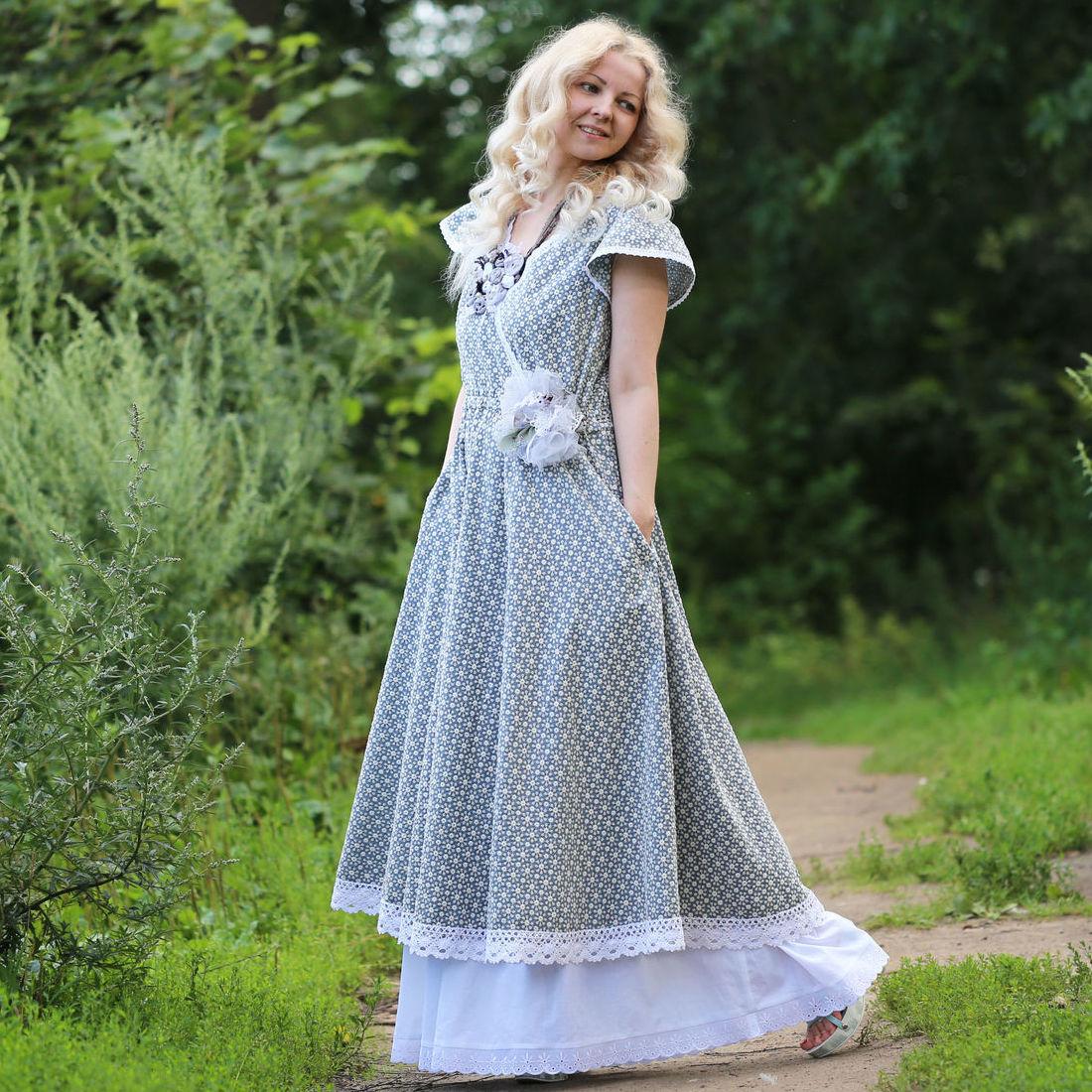 Nata Schu хлопковое платье с шитьем