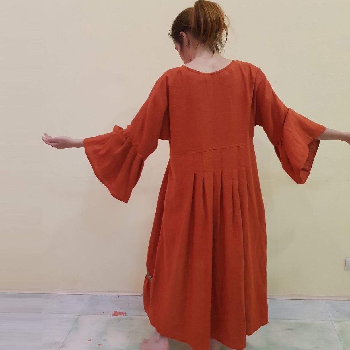 MarlЁn льняное терракотовое бохо платье