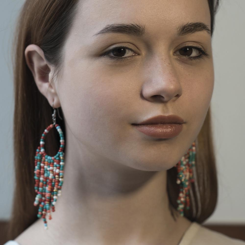 Серьги цветные из бисера (Москва)