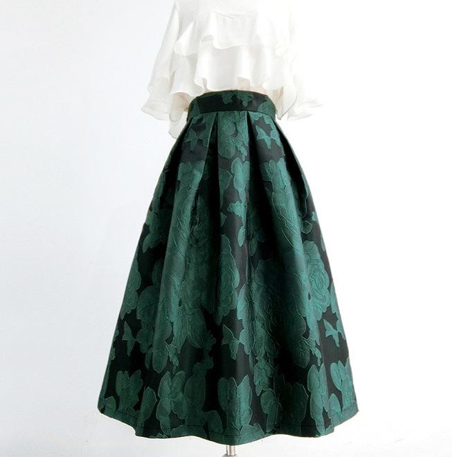 Ретро-юбка с зелёными цветами (Серпухов)